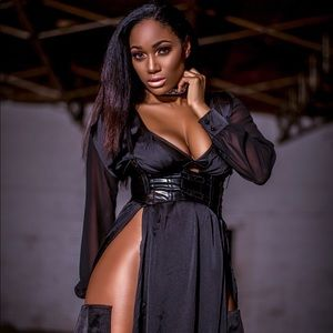 Dresses & Skirts - Black silk slit dress